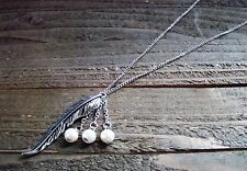 Long Silver Chain Necklace Feather Pendant Dangle Beads Boho Fashion Jewelry