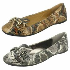 Spot On F8782 Ladies Shoes Grey Or Tan Snake Skin Effect UK Sizes 3 - 8  (R5A)