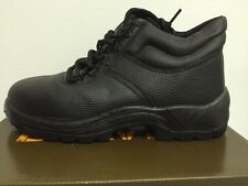 Boxed Beaver Mens Safety Work Boots Leather Black Steel Toe Caps UK 10