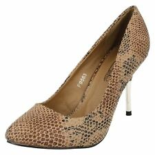 Spot On Ladies Tan Snake Court Shoes F9563 Sizes 3 x 8   (R7A)