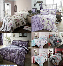 Luxury Duvet Quilt Cover Pillow Cases Bedding Set Memories Paris Vintage Style
