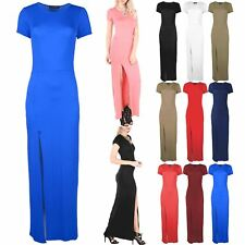 Womens Ladies Short Sleeve Front Split Slit Split Long Maxi Dress Top Plus Size