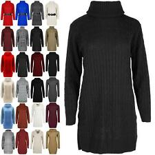 Ladies Oversized Jumper Womens Cowl Neck Pullover Cable Knitted Mini Dress Top