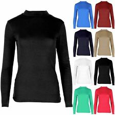 Ladies Womens Casual Full Long Sleeves Viscose Turtle Neck T Shirt Top Jersey