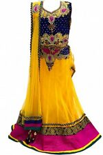 GLC2149 Blue and Yellow Girl's Lengha Choli  Indian Bollywood Fancy Dress