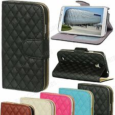 Quilted Synthetic Leather Purse Wallet Stand Case Cover For Apple Samsung Sony