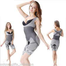 UNIQUE -SLIM N LIFT WOMEN BODY SHAPER SUIT - NATURAL BAMBOO CHARCOAL - L -3-XL
