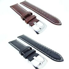 Genuine Leather Padded Crocodile Watch Strap Band Black or Brown 18,20,22,24mm