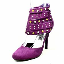 Purple Suedette high heel court shoes with sudded ankle straps