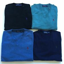 New Polo Ralph Lauren Mens 100% Merino Wool V-neck Pullover Sweater