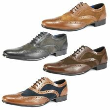 Mens Red Tape Lace Up Brogue Smart Leather Shoes Tan Navy Brown Black Suede