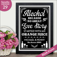 PERSONALISED Wedding Signs - Alcohol No Great Love Story Vintage Chalkboard Sign