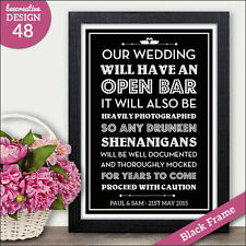 Open Bar PERSONALISED Wedding Signs - Alcohol Wine Beer Wedding Vintage Signs