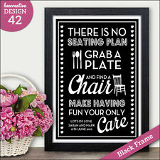 PERSONALISED No Seating Plan Wedding Sign - Grab A Plate Find a Chair Sign