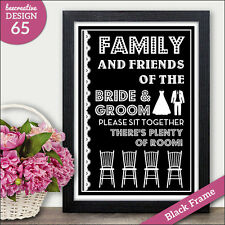 Sit Together No Seating Plan Wedding Sign - Chalkboard Vintage No Seating Plan