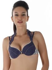 Shyle Navy Blue Halterneck Push Up Bra