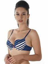 Shyle Blue With White Striped Push Up Bra