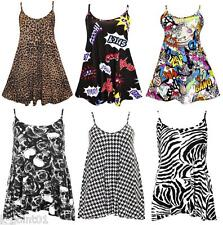 Women Ladies Multicolor Leopard Strappy Swing Mini Party Dress Plus Size 8-26