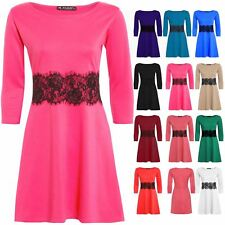 Womens Ladies 3/4 Sleeve Flared Franki Waist Lace Detail Skater Dress Plus Size