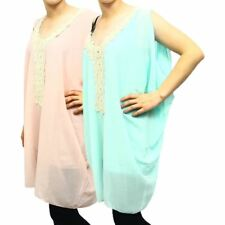 Ladies pastel sleeveless oversized top with cream lace