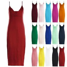 Womens Ladies Summer Casual Celebrity Strappy Wrap Cross Over Bodycon Midi Dress