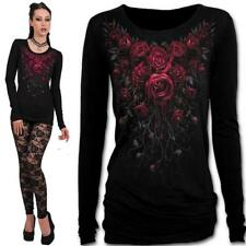 SPIRAL DIRECT BLOOD ROSE LONG SLEEVE T SHIRT TOP  BLACK GOTHIC  ALTERNATIVE