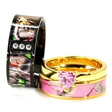 His & Her Black Gold Pink Titanium Camo Heart Sterling Silver Wedding Ring Set