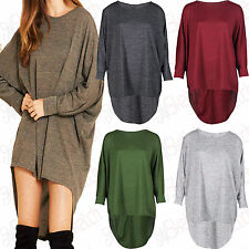 New Women Ladies High Low Dip Back Loose Fit Over Sized Batwing Top Dress 8-18