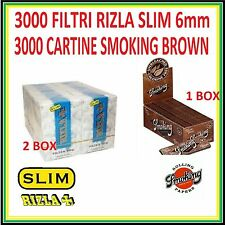 3000 FILTRI RIZLA SLIM 6mm + 3000 CARTINE SMOKING BROWN CORTE