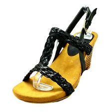 Ladies strappy wedge heel sandals with open toe and ankle strap