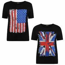 New Ladies Short Sleeve Black Union Jack And American Flag Print T-Shirts 12-26