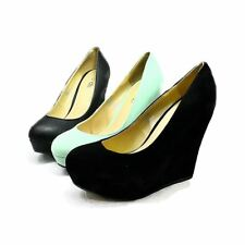 Womens Suedette high heel wedge rounded toe court shoes