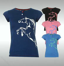 Ladies Branded Requisite Short Sleeves Horse Print T Shirt Cotton Top Size 8-18