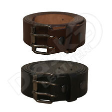 MEN'S LEATHER BELT Double Hole (100% GENUINE) Black / Brown 30'' to 64''