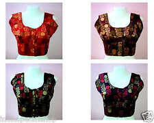 Readymade Sleeveless Bra Cut Cotton-Chanderi Saree Blouse Assorted Colors & Size