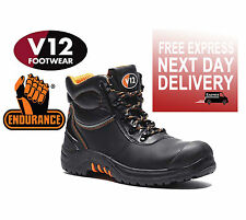 V12 VR657 ENDURA ll MENS BLACK LEATHER SAFETY LACE UP STEEL TOE CAP WORK BOOT