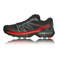 Salomon Wings Pro 2 Mens Red Black Cushioned Trail Running Sports Shoes Trainers