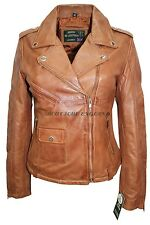 Ladies 8829 Deluxe Tan Biker Style Motorcycle Soft Napa Italian Leather Jacket