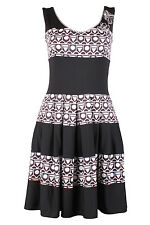SAVE THE QUEEN NS SS16 BLACK & WHITE DRESS WITH FLARED SKIRT M £189