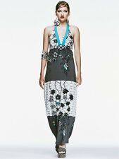 SAVE THE QUEEN  BRIGHT TURQUOISES MAXI HALTER NECK DRESS S £229