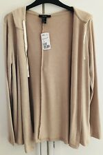 Forever 21 Drawstring Hooded Cardigan UK S Tan Beige Open Front Hoodie Knit BNWT