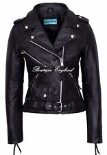 'CLASSIC BRANDO Ladies Black Biker Style Motorcycle Cruiser Hide Leather Jacket