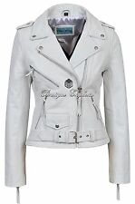 'CLASSIC BRANDO Ladies White Biker Style Motorcycle Cruiser Hide Leather Jacket