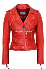 'CLASSIC BRANDO Ladies Red Biker Style Motorcycle Cruiser Hide Leather Jacket