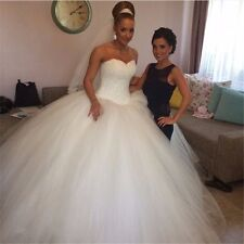 White Ivory Wedding Dress Evening Prom Ball Bride Gown Size 2 4 6 8 10 12 14 16+