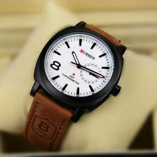 New Fashion Curren Branded Wristwatch Leather Strap Military wrist Watch - WHITE