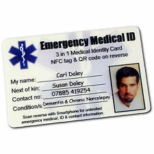 Medical ID Card Emergency Identity Wallet Purse. SMART QR NFC Wristband Options