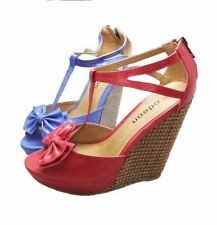 Ladies T-bar high heel wedge sandals / shoes with peep toe and bow