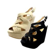 Ladies suedette platform strappy wedge heel sandals / shoes