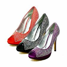 Ladies satin peep toe diamante studded high heel evening shoes